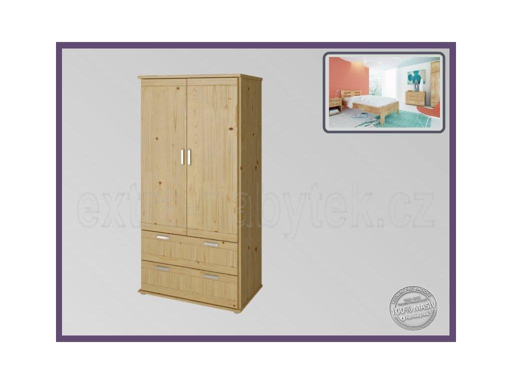 Skříň Alfa 2D - Grand SMRK  Dřevěná skříň do ložnice