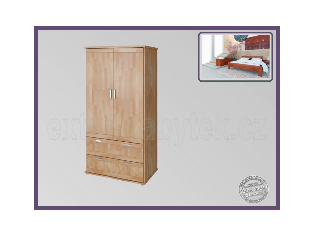 Skříň Alfa 2D - Grand BUK  Dřevěná skříň do ložnice