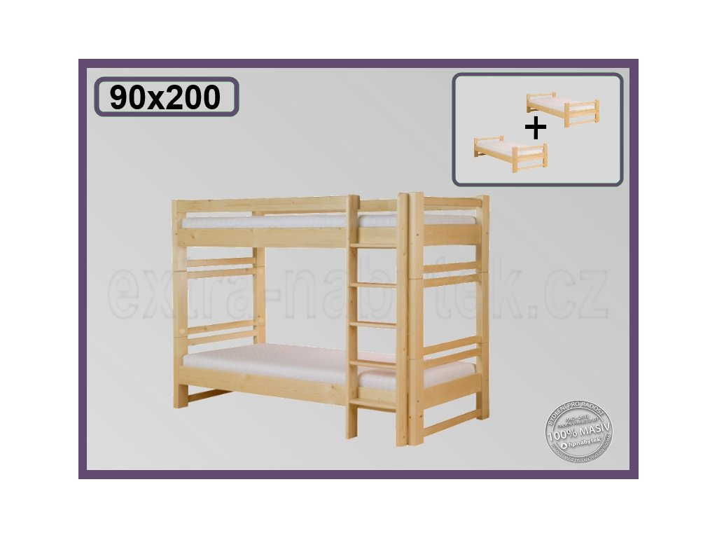 Lucas rozkládací 103 SMRK  Dřevěná patrová postel