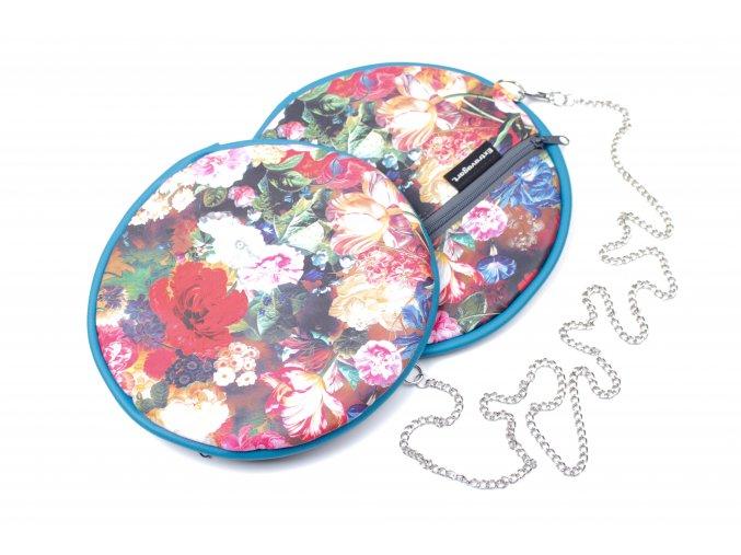 Crossbody kulatá plochá kabelka Extravagart.flower bag petrol blue
