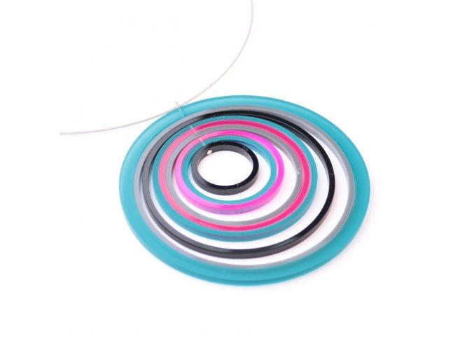 Náhrdelník Extravagart.petrol&pink 9 cm