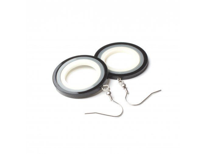 Náušnice Extravagart.black&gray&offwhite 3,5 cm