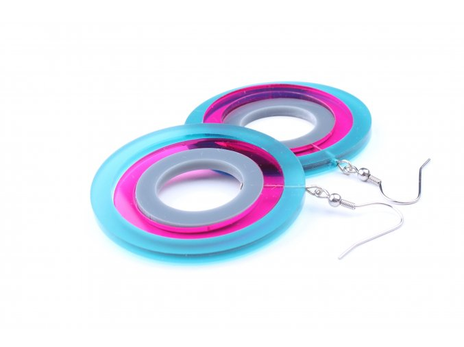 Náušnice Extravagart.petrol&pink 5 cm