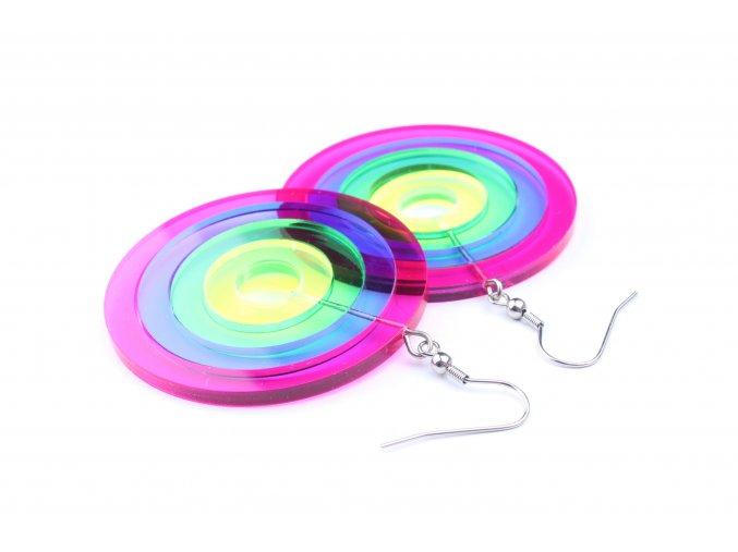 Náušnice Extravagart.rainbow transparent 5 cm