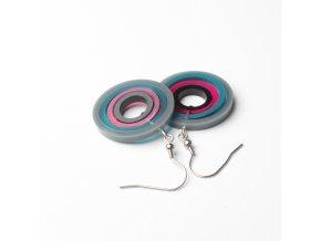 Náušnice Extravagart.petrol&pink 3 cm