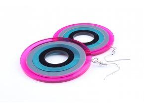 Náušnice Extravagart.petrol&pink 6 cm