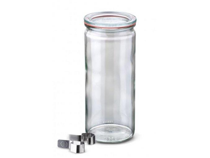Zavařovací sklenice Cylinder WECK 1040 ml - kompletní s víčkem a klipsy