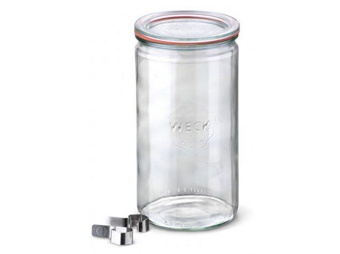 Zavařovací sklenice Cylinder WECK 1590 ml - s víčkem, těsnící gumou a klipsy