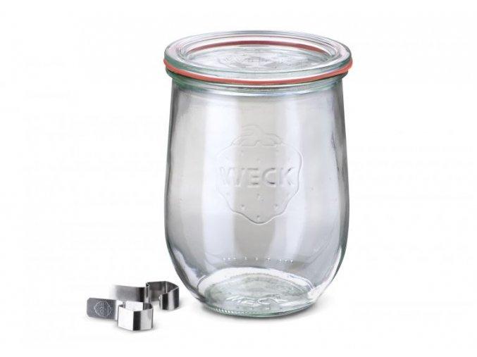 Zavařovací sklenice Tulip WECK 1062ml - s víčkem, těsnící gumou a klipsy