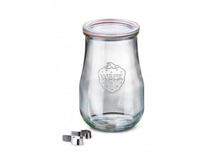 Zavařovací sklenice Tulip WECK 1750ml - s víčkem, klipsy a těsnící gumou