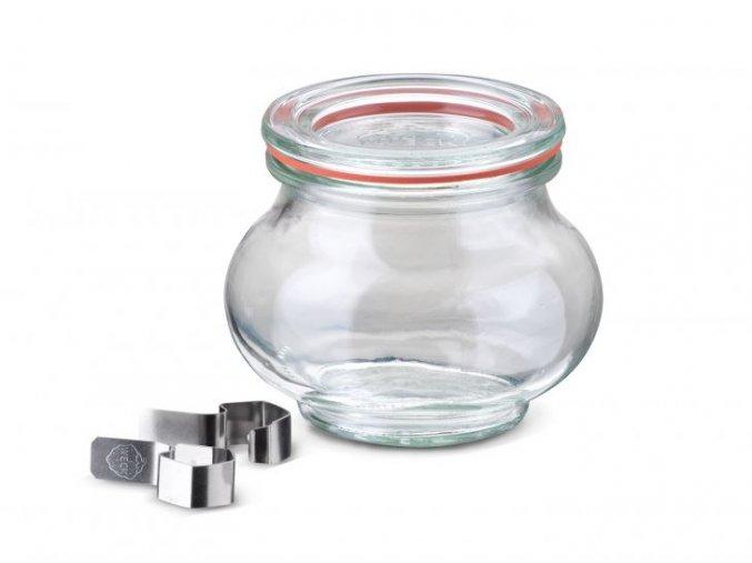 Zavařovací sklenice Lilie WECK 220ml - víčko, klipsy, těsnící guma