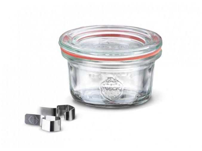 Zavařovací sklenice mini Classic WECK  50ml - sklenice s víčkem, klipsy, těsnící gumou