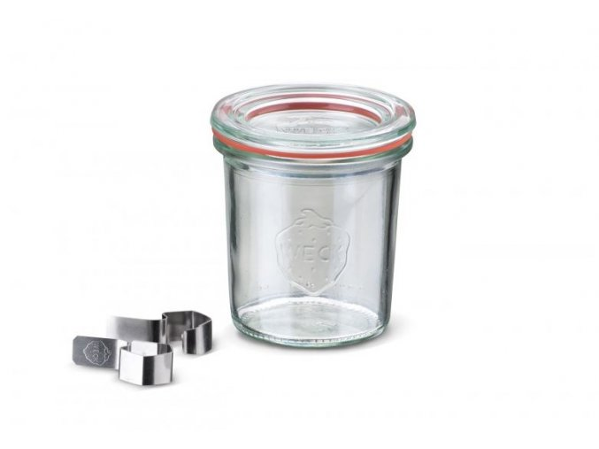 Zavařovací sklenice WECK Classic 140mm komplet s víčkem, klipsy a těsnící gumou