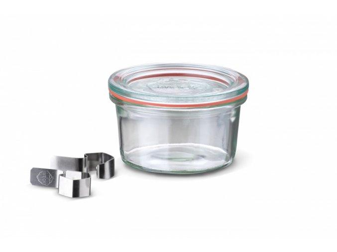 Zavařovací sklenice WECK  Classic 165 ml - kompletní s víčkem, gumou a klipsy
