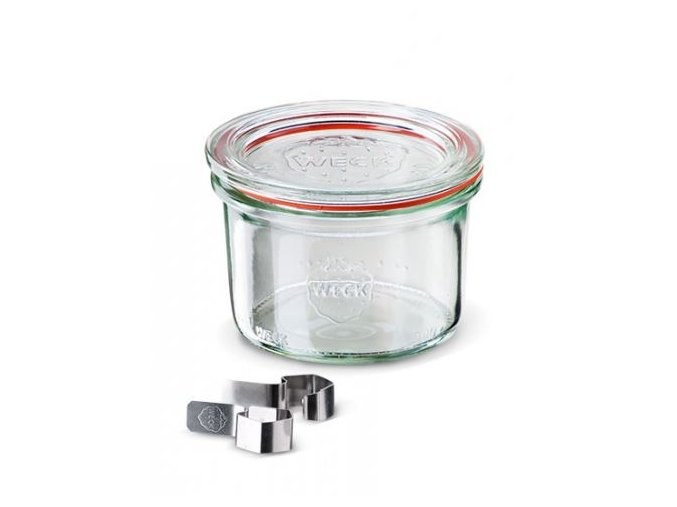Zavařovací sklenice Classic WECK 200ml - včetně klipsů, těsnící gumičky a víčka
