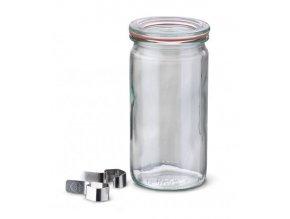 Zavařovací sklenice Cylinder WECK 340 ml -  s víčkem, těsnící gumou a klipsy