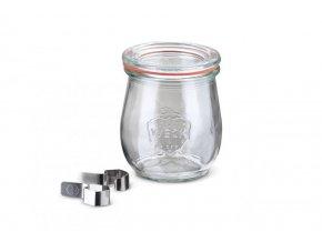 Zavařovací sklenice Tulip WECK 220ml - s víčkem, klipsy a těsnící gumou