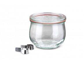 Zavařovací sklenice Tulip WECK 580ml - včetně víčka, klipsů a těsnící gumy