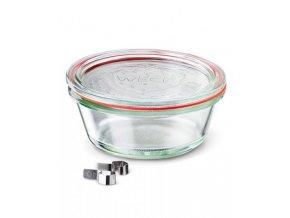 Zavařovací sklenice Gurmet WECK 300ml - víčko, klipsy,těsnící guma