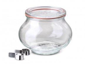 Zavařovací sklenice Lilie WECK 560ml - víčko, klipsy, těsnící guma