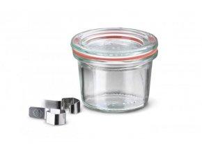 Zavařovací sklenice mini Classic WECK 80ml - sklenice s víčkem, klipsy a těsnící gumou
