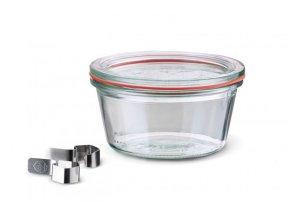 Zavařovací sklenice Classic malá WECK 290ml - sklenice s víčkem, klipsy a těsnící gumou