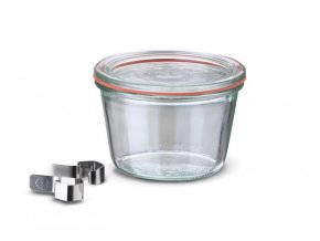 Zavařovací sklenice Classic WECK 370ml - včetně klipsů, těsnící gumy a víčka