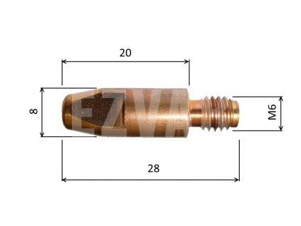 Kontaktná špička M6x28 pr. 0,8/1,0/1,2 (priemer M6x28 pr. 1,2mm)