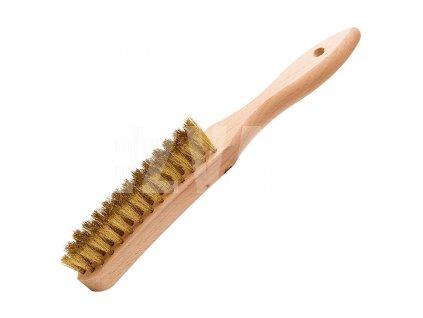 Kartáč s drevenou rukoväťou , vlnitá mosadz, KART 1111048 4-radý/0,25