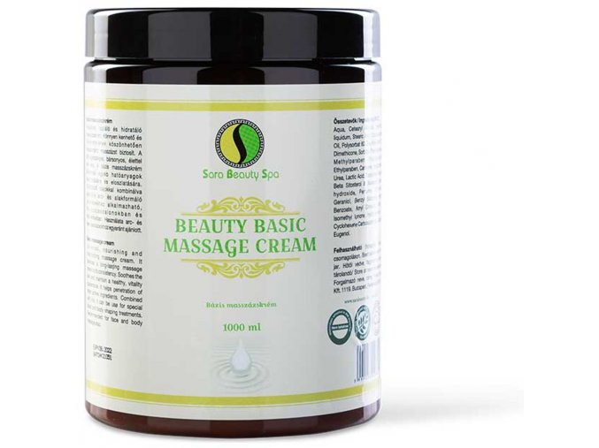 bazis masszazs krem arcra es testre  sara beauty spa beauty basic massage cream 1000ml
