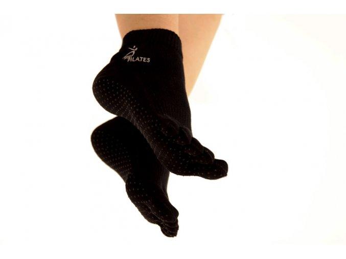 csuszasgatlo otujjas sissel pilates socks bamboo bambusz zokni fekete