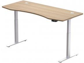 Hi5  elektromosan állítható magasságú asztalváz - 2 szegmensű, memóriavezérlővel - feher vazzal, tolgy asztallappal 1