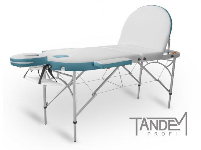 skladaci masazny stol tandem profi a3d oval duo biela tyrkysova