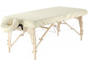 set napinacia plachta fabulo na masazny stol a podhlavnik z mikrovlakna bezova