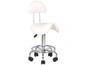 kozmeticka stolicka sedlova s operadlom beautyone biela