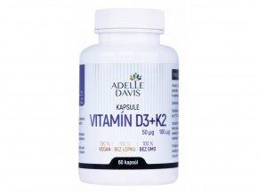 Adelle Davis - Vitamín D3, 50 mcg + K2, 100 mcg, 60 kapsúl