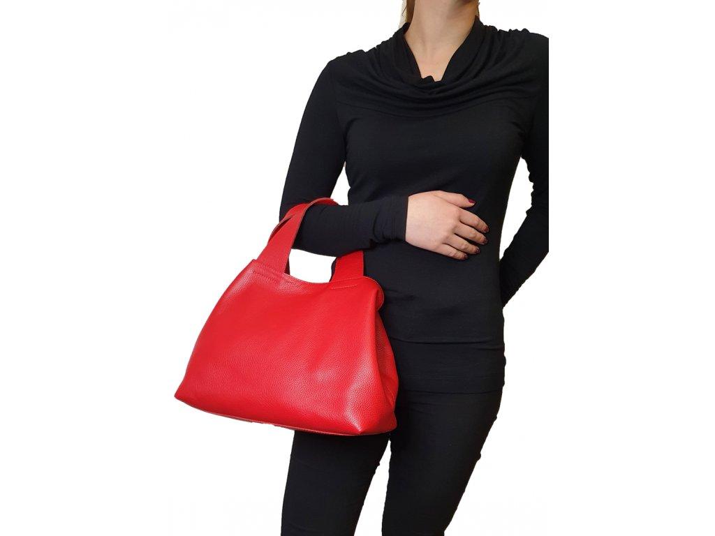 kožená kabelka do ruky červená (3)
