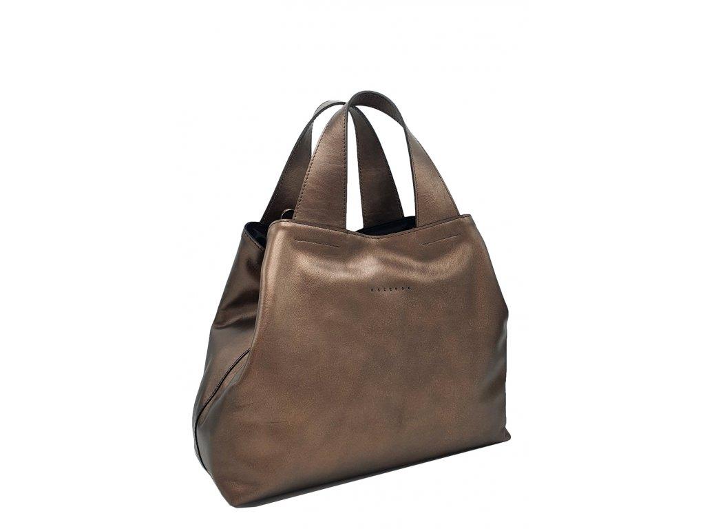 kožená kabelka do ruky bronzová (3)