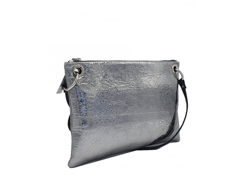 Kožená crossboy kabelka stříbrná + černá Erin (1)
