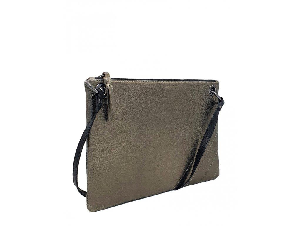 Kožená crossboy kabelka zlatá + černá Erin (1)