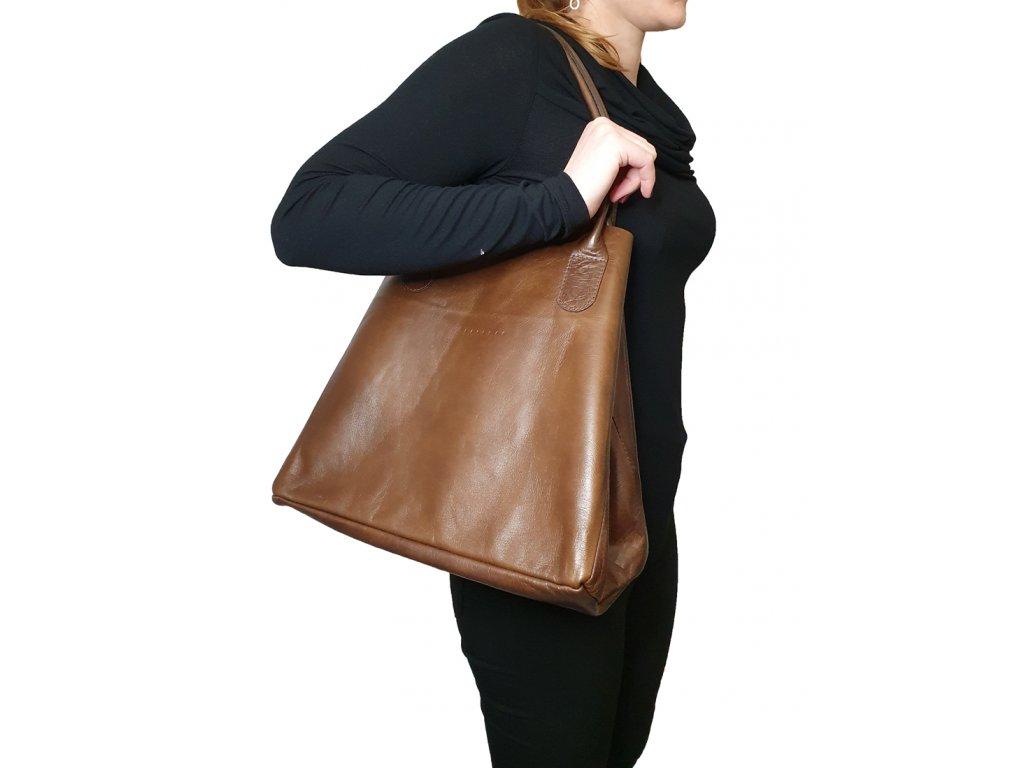 Kožená kabelka světle hnědá vintage (2)