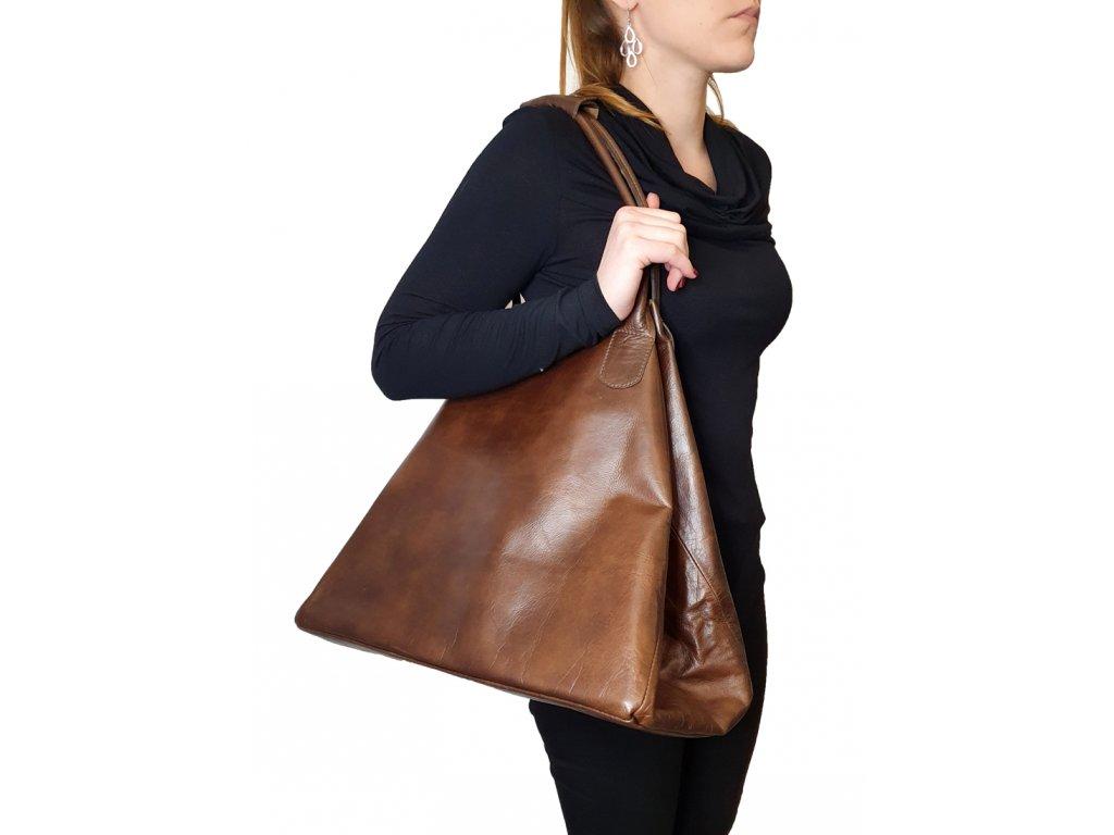 Kožená kabelka hnědá vintage (2)