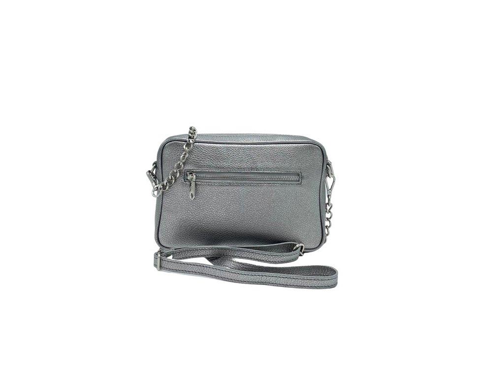 Kožená crossbody kabelka stříbrná (1)