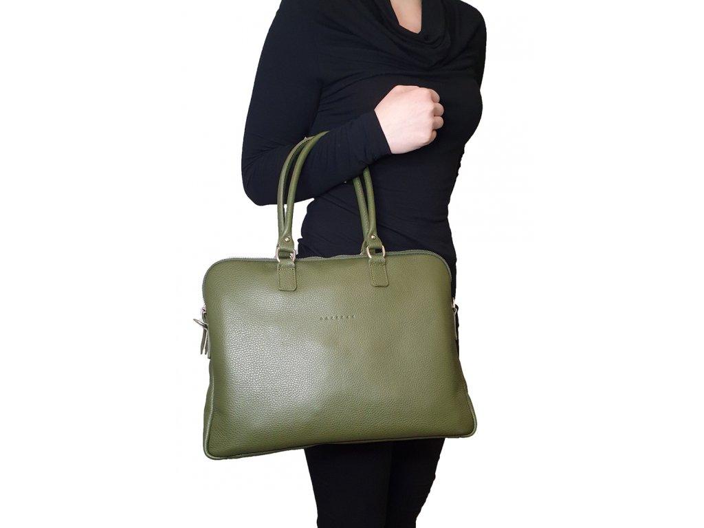 Kožená bussines taška s dlouhými uchy Gaya olivová (4)