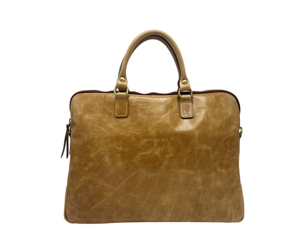 Kožená bussines taška s krátkými uchy Gaya tm. hnědí vintage (4)