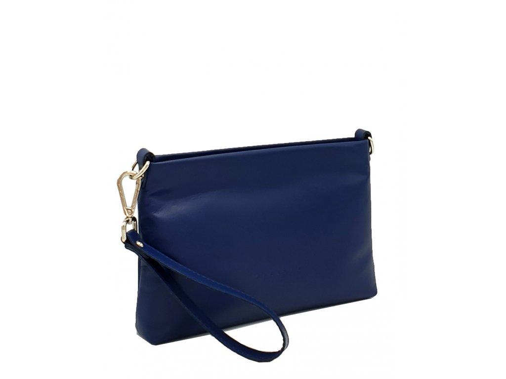 Kožená kabelka přes rameno maxa 8003 modrá hladká (2)