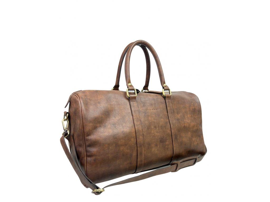 Kožená cestovní taška hnědá vintage (2)