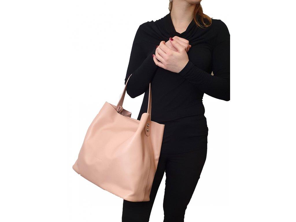Kožená kabelka přes rameno 8042 Beth růžová hladká (2)