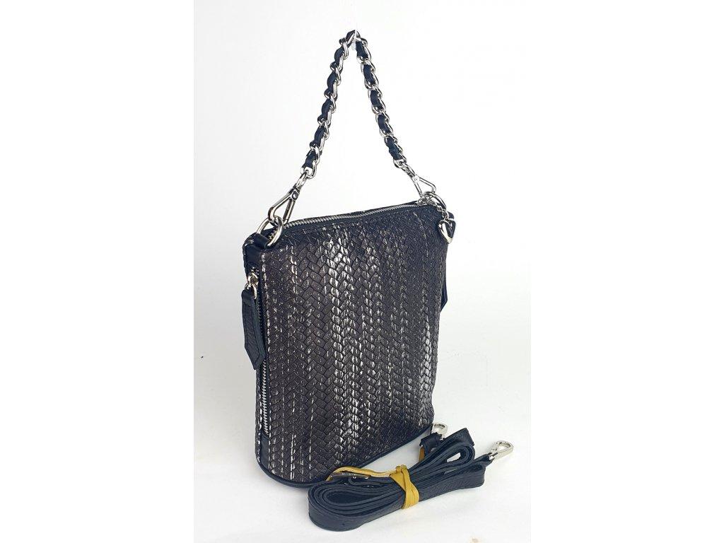 6034 186 32 damska kozena kabelka facebag emma i tmave pletene stribro 807x1300