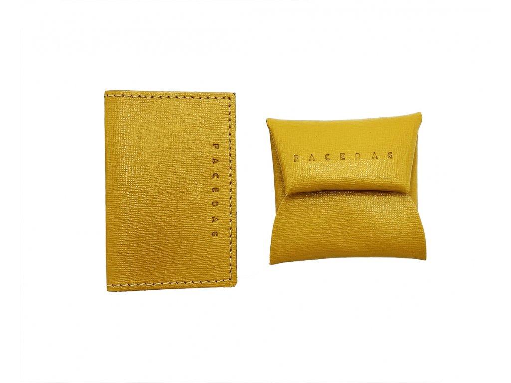 set pouzdra a mincovníku žlutá safiano